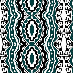 Modern Tribal in Black, White and Green