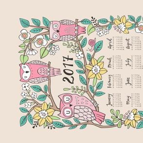 2017 Owls & Flowers Tea Towel Calendar