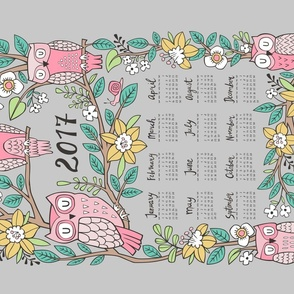 2017  Tea Towel Calendar  Owls & Flowers on Grey