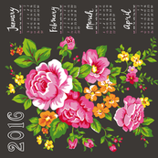 2016 Tea Towel Calendar Roses
