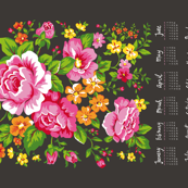 2017 Tea Towel Calendar Roses Floral Flowers