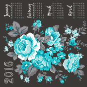 2016 Tea Towel Calendar Roses Aqua&Grey