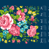 2017 Tea Towel Calendar Roses Floral Flowers on Navy Blue
