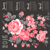 2016 Tea Towel Calendar Roses Pink grey