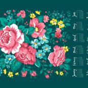 2017 Tea Towel Calendar Roses Floral Flowers on Green