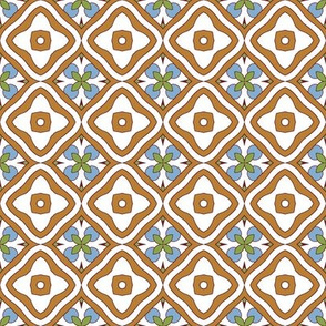 Brown and White Tile with Floral Elements