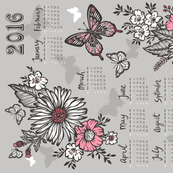 2016 Tea Towel Calendar Butterfly&Flowers