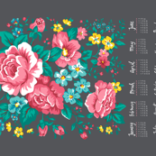 2017 Tea Towel Calendar Roses Floral Flowers on Grey
