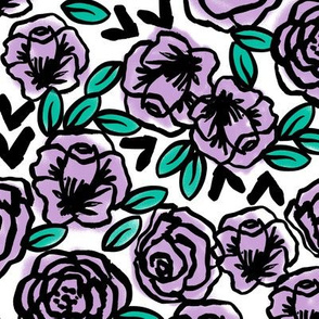 roses // lilac and purple flowers and florals repeating illustration design