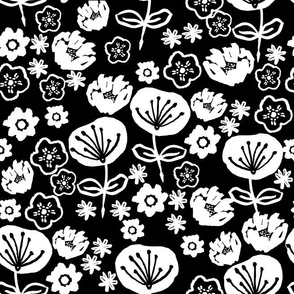 florals // black and white flower illustration