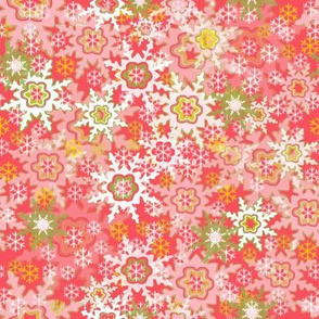 Red, Pink, White & Green Snowflakes