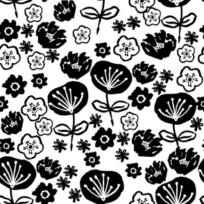 florals // black and white flower design in hand-drawn illustration repeating pattern for textiles