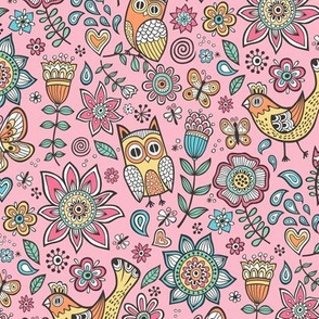 owls birds butterfly&flower Pink
