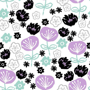 florals // mint and lilac flower illustration hand-drawn repeating fashion print