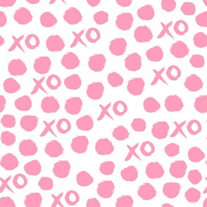 xoxo // bubblegum pink hearts dots xoxo valentines love hearts pink fabric