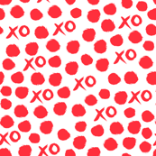 xoxo // red valentines heart love design for textiles and wallpaper