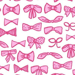 bows // pink beauty fashion print for cute little sweet girls in pinks illustration pattern