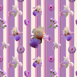 Shades of Purple Flowers on Stripe