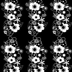 Long Floral Pattern (Black)