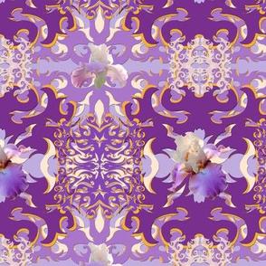 Purple Iris Damask