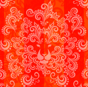 Orange Red Damask Lion