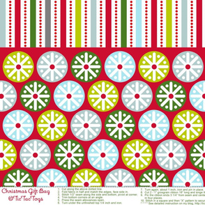 Snowflake Stripe Holiday Gift Bag