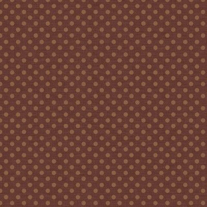 Prim Polka Dots on Dark Rust Brown