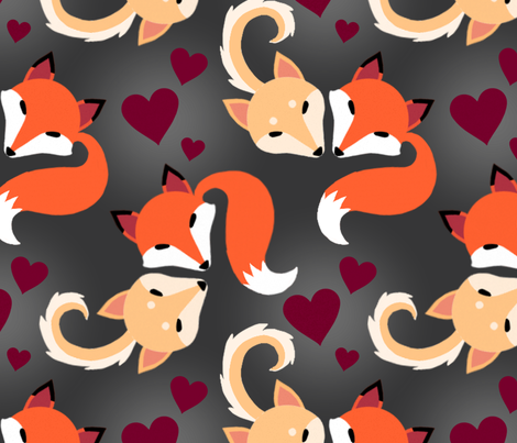 Fox and Doge with Tails and Hearts