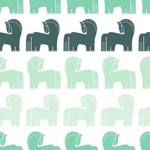 Nordic - horses in mint