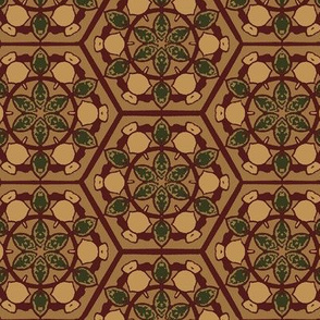 Honeycombe Floral in Tan and Maroon