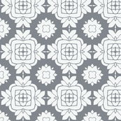 Floral in Gunmetal Blue and White