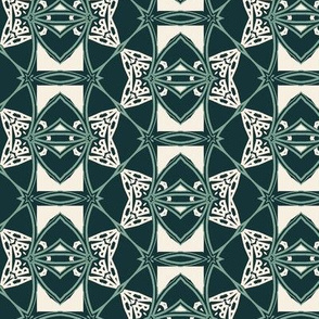 Modern Tribal in Green and White