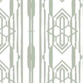 Modern Green Stripe on White