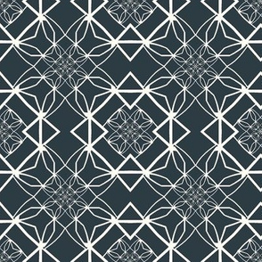 Complex Geometric in Blue and White