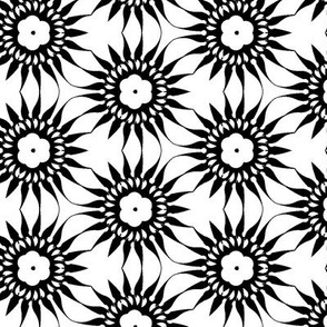 Black Flowers on White