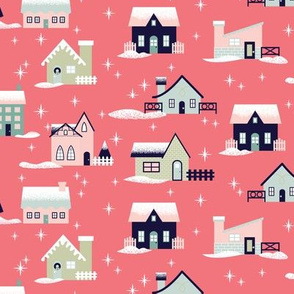 Pink Christmas Houses
