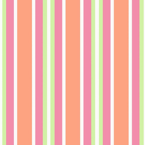 Colorful Stripe in Pink, Orange, Green & White