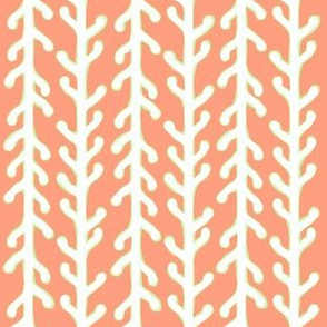 White & Green Kelp Ribbon Stripe on Orange