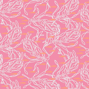 Kelp on Pink with Orange Fish