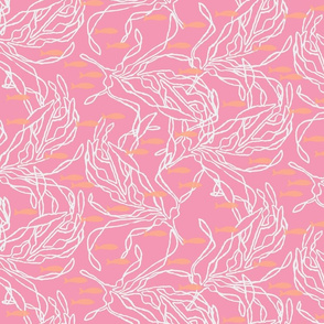 Lighter Pink with White Kelp and Fish