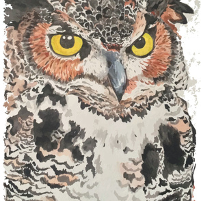 Horned Owl Watercolor