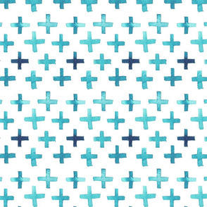 Tight Watercolor Cross Pattern - Teal
