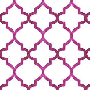 Magenta Watercolor Quatrefoil