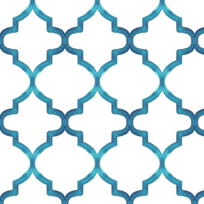 Teal Watercolor Quatrefoil