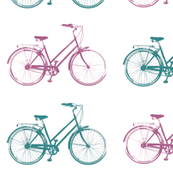 Antique Bike - Teal and Pink