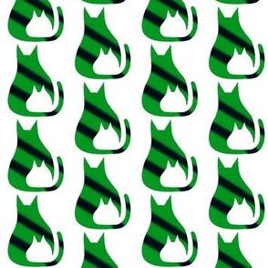 Cat Kitten Green Black Stripes