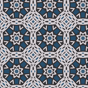 Unusual Geometric in Blues and White