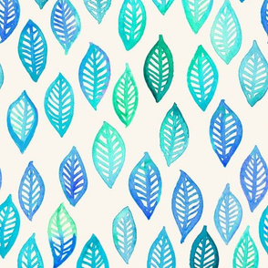 Watercolor Leaf Pattern in Blue and Turquoise
