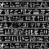 Egyptian Hieroglyph - White on Black