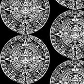 Mayan Calendar- White on Black